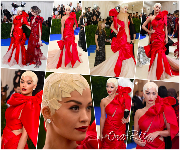 *1/05/17 - Rita été présente au MET Gala 2017 à New-York. C'est sous une JOLIE ROBE en forme de ruban que Rita s'est présentée aux MET Gala. Je la trouve splendide malgré sa coiffure étrange. **