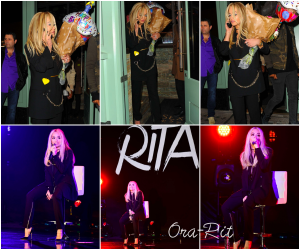 *24/11/15 - Rita a été vue quittant le restaurant Sexy Fish à Londres. Plus tard, Rita a performé aux Global's Make Some Noise Gala 2015 à Londres.**
