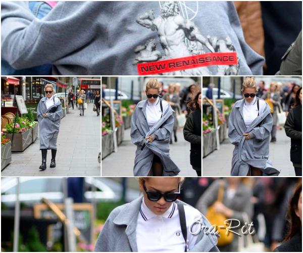 *18/05/17 - Rita a été vue arrivant aux studios de la radio Capital à Londres. J'adoooore le manteau de Rita il est frachement trop joli. Je la trouve de plus très jolie avec son chignon. Son polo à l'air très sympa aussi. TOP!**