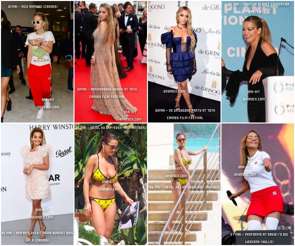 *21/05/17 - Rita s'est rendue au Festival de Cannes et a bien profité de son séjour, à Cannes bien sûr. Je vous laisse donc découvrir ses différentes tenues et sorties lorsqu'elle était dans le sud de notre cher pays.**