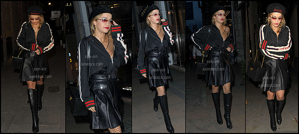 *29/06/17 - Le soir, Rita a été vue sortant de la fête de lancement du magazine TINGS, à Londres. Encore un sacré fashion faux pas pour la jolie Rita Ora. Je n'aime pas du tout les lunettes et le béret qu'elle porte, je trouve que ça la vieillie. **