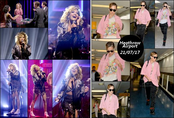 """*18/07/17 - Rita Ora a performée au très célèbre """" The Tonight Show """" de Jimmy Fallon - New-York. Le 21 juillet 2017, Rita a été vue arrivant à l'aéroport Heathrow de Londres suite à un vol prit à Los Angeles. La tenue laisse une fois de plus à désirer..  **"""
