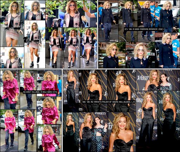 *07/08/17 - Rita Ora a été aperçue quittant un plateau de radio suite à sa présence dans une émission à N-Y. Le lendemain, Rita s'est rendue au Good Morning America le matin puis au East Village dans la journée. Mardi, elle était à un event avec Charli XCX. **