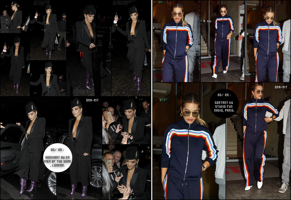 *05/09/17 - Rita Ora a été aperçue arrivant toute de noir vêtue à l'event GQ Men of the Year à Londres. Plus tôt dans la journée, Rita a été vue alors qu'elle sortait des studios de Fun Radio dans Paris. Sa tenue fait très 70's et je dois avouer bien aimer.  **