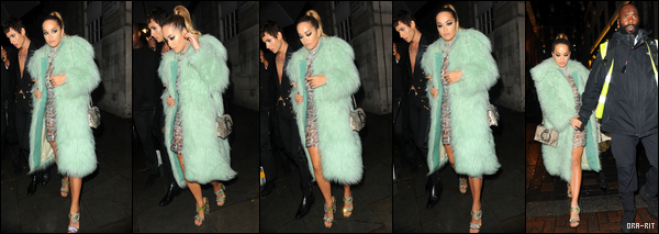 "*18/09/17 - Rita Ora était à la LOVE Magazine x Miu Miu party durant la Fashion Week de Londres. Le soir, Rita a été vue quittant la boîte de nuit le Cirque le Soir. Je n'aime pas trop sa robe qui fait, je trouve, très ""couverture""... **"