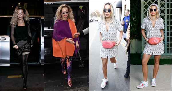 *22/01/18 - Rita Ora a été photographiée faisant du shopping chez Chanel puis sortant le soir dans Paris. Le lendemain, Rita a été vue quittant son hôtel à Paris puis se rendant au défilé de la collection printemps de Chanel à la Paris Fashion Week.**