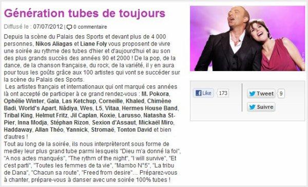""". RETROUVEZ HELMUT SUR TF1 SAMEDI 7 JUILLET DANS """"GÉNÉRATION TUBES DE TOUJOURS""""."""