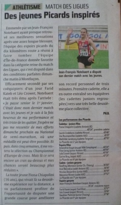 Match interligues 10 km Montluçon 2011 - Presse