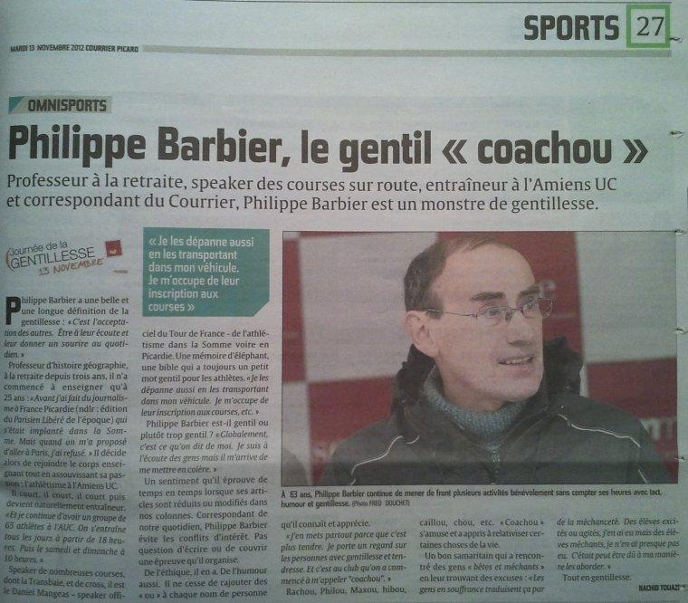 Mon entraîneur, Philippe Barbier, à l'honneur dans la presse...