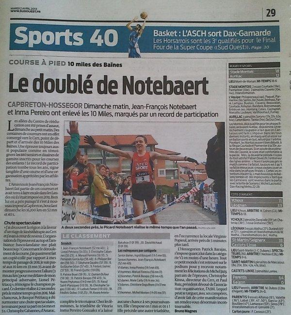 Victoire aux 10 miles des Baïnes de Capbreton-Hossegor 2013 - Presse