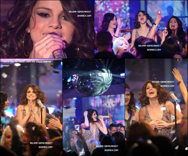 _ NOUVEL AN 2012  Selena a passé la soirée du 31 décembre en compagnie de Demi Lovato à la soirée MTV New Year's Eve. Justin était lui de l'autre côté de Times Square, mais à 00h00 il a attendu Selena, qui interprétait love you like a love song et hit the lights (les vidéos de la performance ont été supprimées). Ils ont ensuite passé le reste de la soirée à faire la fête, fête organisée par JB. Des témoignages racontent qu'il étaient très proches et n'ont pas arrêtés de danser ensemble.       _