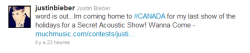 Photos et infos tweetées par Justin