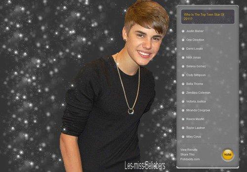 Justin nominé dans le top des stars ados par The Hot Hits