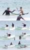 Justin faisant du surf sur une plage australienne