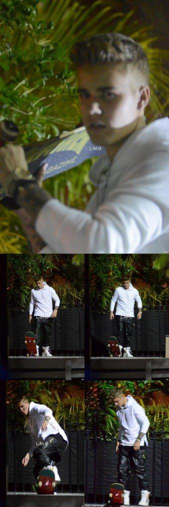 Justin faisant du skateboard et rencontrant des fans à Miami