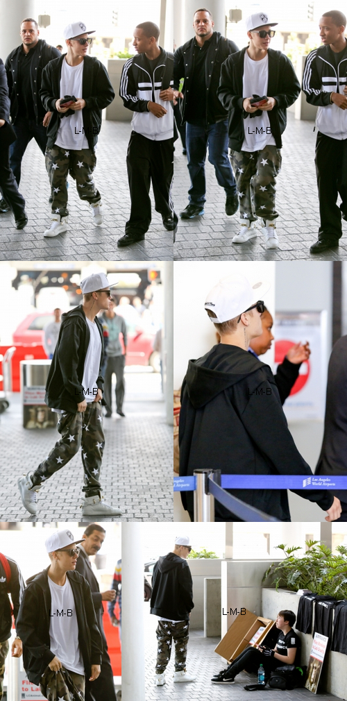 Justin à l'aéroport de Los Angeles