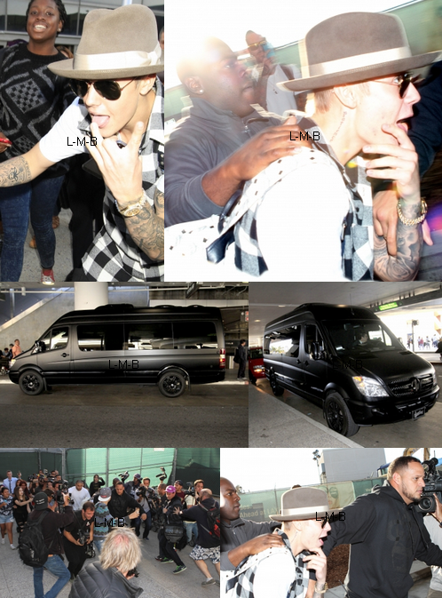 Justin à l'aéroport de Los Angeles