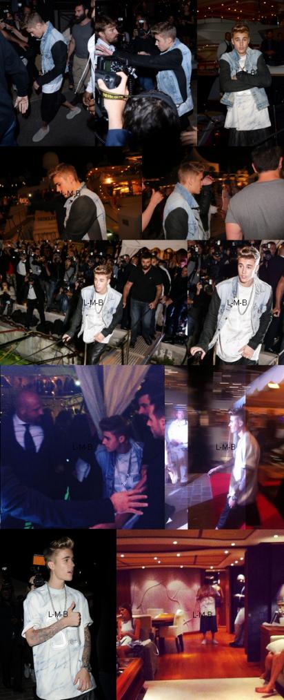 Justin à une fête de Roberto Cavalli à Cannes