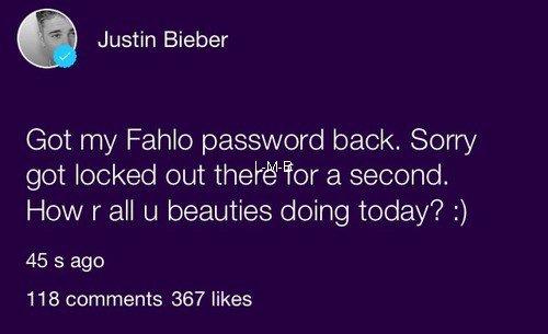 Photos de Justin (suite) + Photos et vidéos postées sur Fahlo