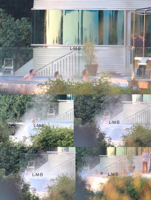 Justin dans sa propriété avec son entourage