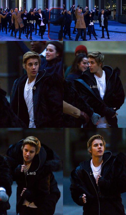 Justin sur le set d'un clip de Carly Rae Jepsen