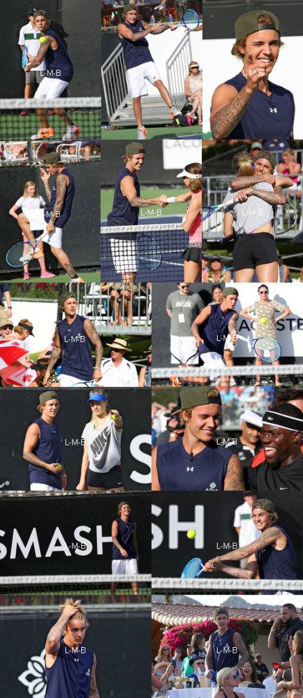 Justin jouant au tennis au Desert Smash