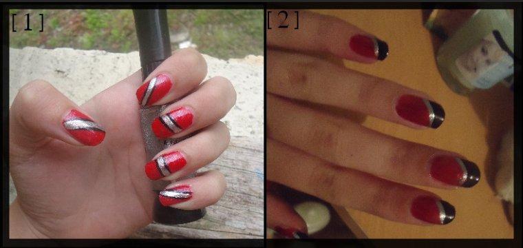 Manucure rouge/noir/argenté