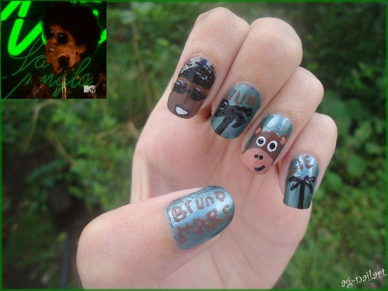 "Nail art - Bruno mars pour concours ""idoles"""