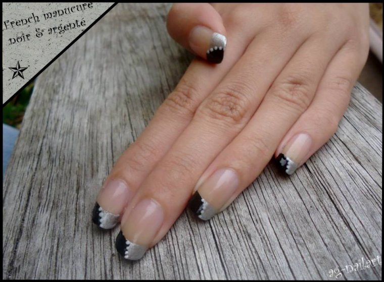 Nail art - French noir & argenté