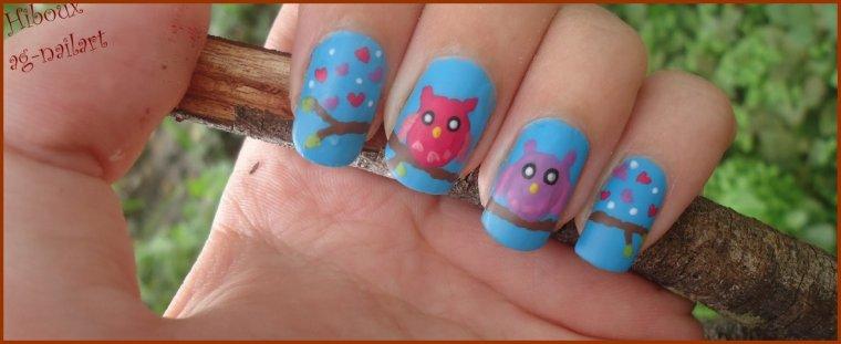 Nail art - Hiboux