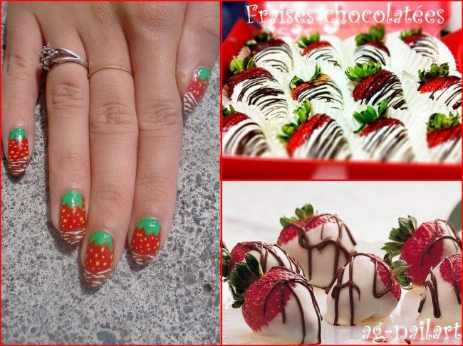 Nail art - Fraises chocolatées