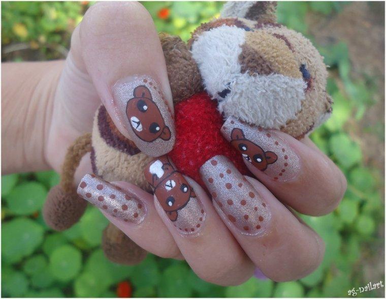 Nail art - Ours en peluche
