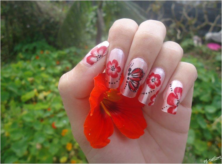 Nail art au One stroke - Fleurs & papillon