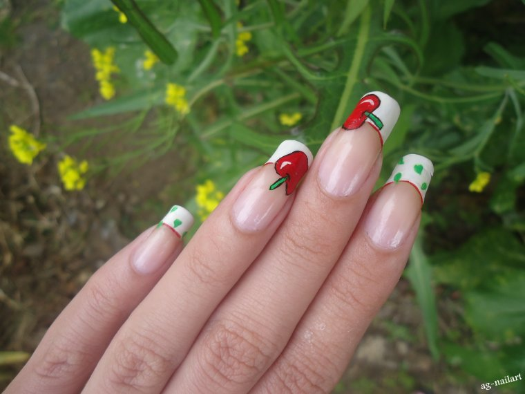 French manucure - Nail art pommes