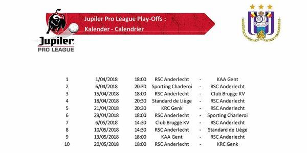 Ce lundi 12 mars 2018, le calendrier du Play-Off I a été révélé dans les installations de l'URBSFA à Tubize. Les Mauve et Blanc joueront leur premier match à domicile le dimanche 1er avril contre le KAA Gent.