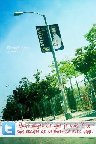 Dianna a récemment posté une photo où l'on voit une affiche publicitaire avec dessus, sa co-star Jane Lynch (Sue dans Glee).
