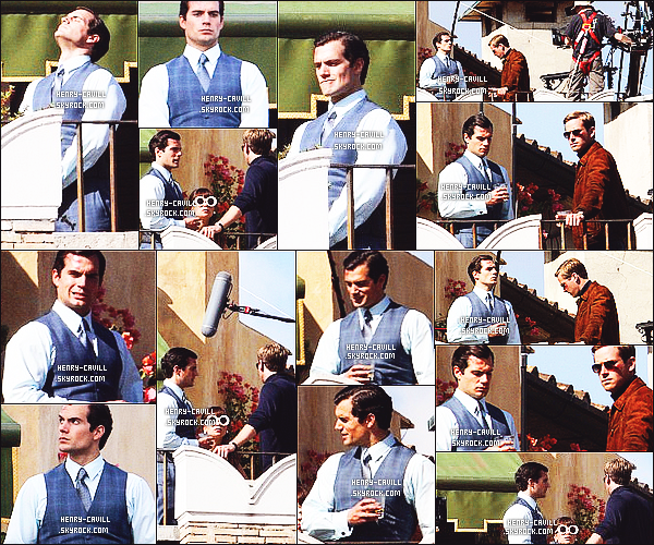 Henry Cavill et  Armie Hammer ont été vus sur le tournage de  The man from Uncle au Plaza Hotel  en Italie   La   date est inconnue mais cela date apparemment du mois dernier selon le site : www.henrycavillnews.com , Pas de news de H. donc