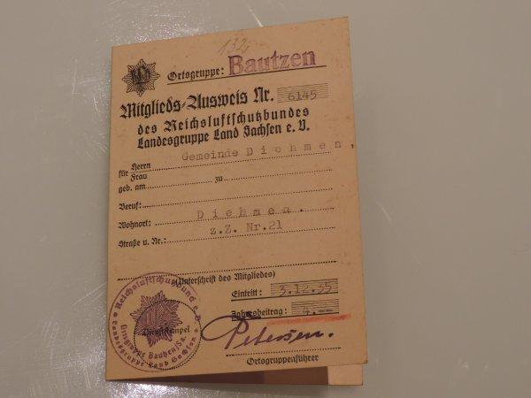 AUSWEIS LUFTSCHUTZ ALLEMAND WW2