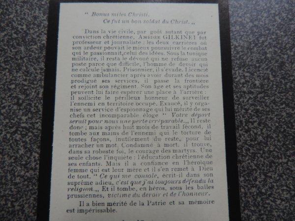 AMEDEE GILKINET BELGIQUE WW1