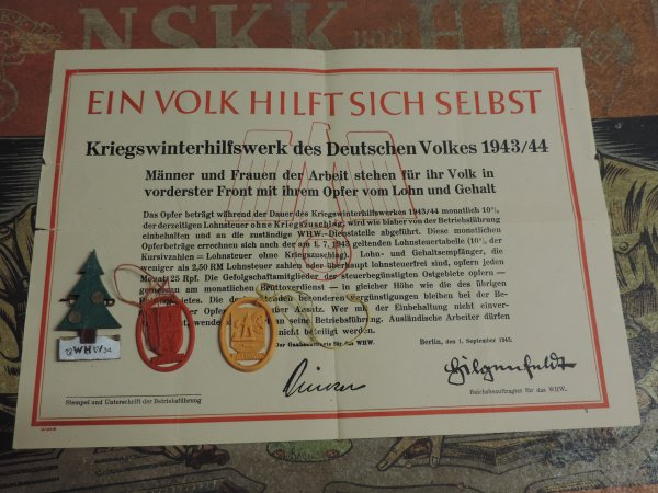 WINTERHILFSWERK ALLEMAND WW2