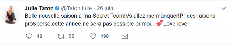 #DERNIERESMINUTES : Julie Taton quitte la Secret Team !