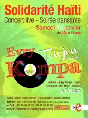 Malone à l'affiche de la soirée Evry Toujou Sou Kompa pour Solidarité Haïti