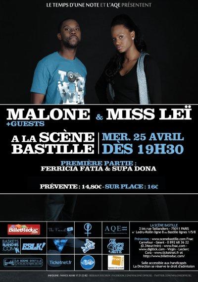 Malone et Miss Leï en concert à la Scène Bastille