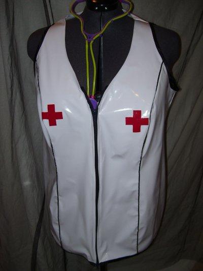 tenue d'infirmière sexy en vinyl grande taille