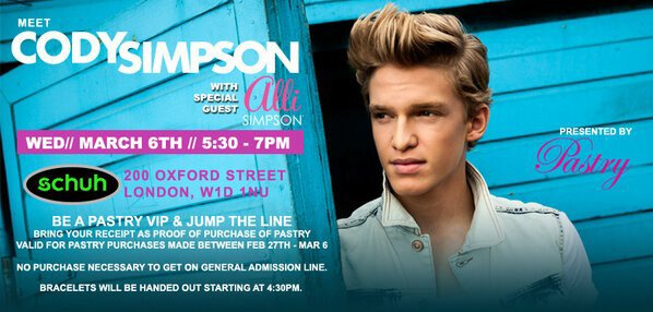 LONDON! Who's coming to meet me, @AlliSimpson with @lovepastry @schuhshoes at 200 Oxford St. London Mar 6th, 5:30-7pm