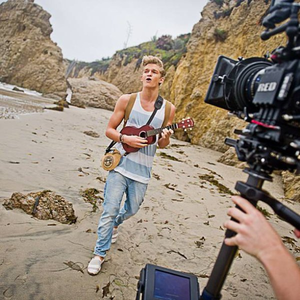 """at the video shoot yesterday down in Malibu. I have a lil competition for you - follow @love_kevin_murphy, post a photo showing me your best """"beach hair"""" and tag #CodyKM for a chance to win heaps of KM products. On ya Kev you legend. (wearing the Night Rider matte wax in this shoot) // photo by @youngastronaut"""