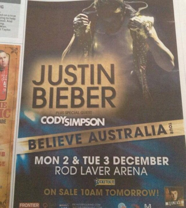 stoked to be touring Aus & NZ with my bro JB. one of my mates back home found this in the paper. we're coming!