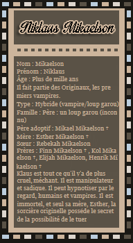___Article 4 Niklaus MikaelsonDeco | Creation | Texte