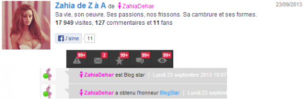 ZAHIA DEHAR BLOG STAR
