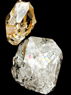 Cristaux de Sélénite et diamant d'Herkimer